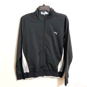 Puma women's track jacket gray blue sz XL